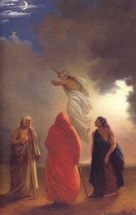 Scene from Macbeth by , depicting the witches' conjuring of an apparition in Act IV, Scene I